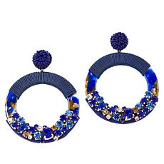 Lemon Way Embellished Threaded Hoop Earrings