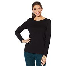 Lemon Way Perfect Pima Long Sleeve Split Hem Tee - Basic