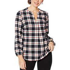 Lemon Way Plaid Woven Long-Sleeve Blouse
