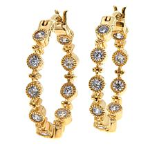 "Leslie Greene 0.6ctw Cubic Zirconia ""Orsay"" Gold-Plated  Hoop Earrings"