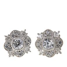 Leslie Greene 0.94ctw Cubic Zirconia Floral Stud Earrings