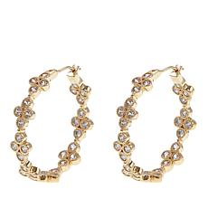 "Leslie Greene 1.92ctw Cubic Zirconia ""Addison"" Gold-Plated Hoops"