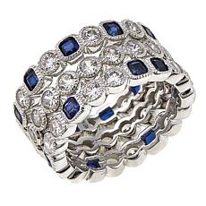 Leslie Greene Cubic Zirconia and Synthetic Sapphire 3-piece Ring Set