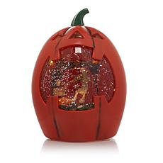 Lighted Halloween Glitter Globe Jack-O-Lantern