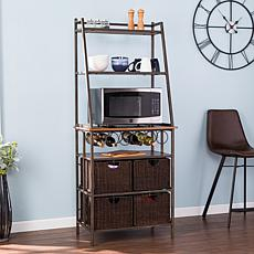 Lillania Metal Baker's Rack with Wine Storage and Baskets