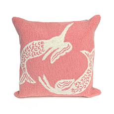 "Liora Manne Frontporch Mermaids 18"" Square Pillow - Coral"