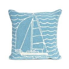 "Liora Manne Frontporch Sails 18"" Square Pillow - Ocean"