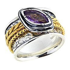 LiPaz .9ct Amethyst 2-Tone Hammered Sterling Silver Spinner Ring