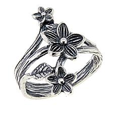 LiPaz Floral Motif Sterling Silver Hammered Ring