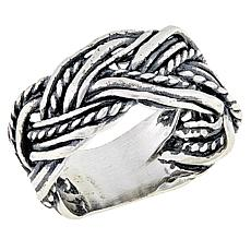 LiPaz Multi-Textured Braid Sterling Silver Band Ring