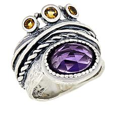 LiPaz Sterling Silver Amethyst and Citrine Ring