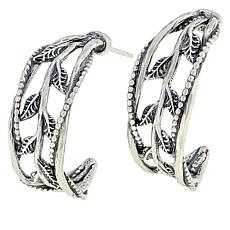 LiPaz Sterling Silver Leaf & Vine Hoop Earrings