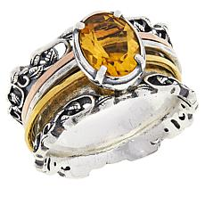LiPaz Tri-Color Sterling Silver 1.3ct Citrine Spinner Ring