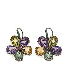 "Lisa Klein 54.9ctw Multigemstone ""Flower"" Drop Earrings"