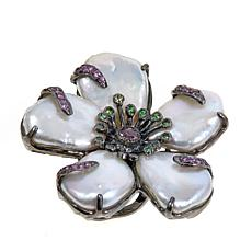 "Lisa Klein Baroque Pearl and Gem ""Flower"" Ring"