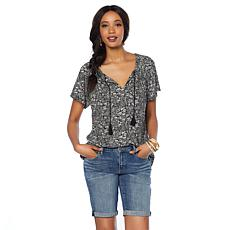 Lucky Brand Boho-Printed Flutter-Sleeve Top