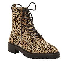 Lucky Brand Idara2 Printed Haircalf Leather Lace-Up Combat Bootie