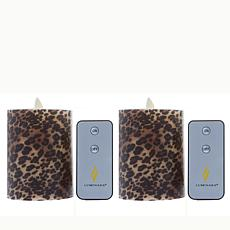 "Luminara 4.5"" Moving Flame Candle - Leopard Print 2-pack"