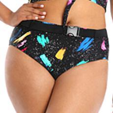 Lysa Paint Splatter Belted High Rise Swim Bottom