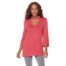 LYSSE Bell Sleeve Mock Neck Cutout Top - Missy