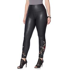 LYSSE  Embroidered Faux Leather Legging  - Plus