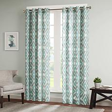 Madison Park Ashlin Diamond-Print Curtain-Aqua-50x84""