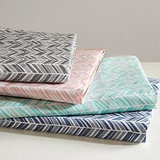 Madison Park Essentials Chevron Microfiber Sheet Set - Navy - Queen