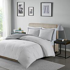 Madison Park Essentials Hayden Stripe Down Alt. Comforter Set Gry King