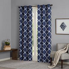 "Madison Park Essentials Merritt Fretwork Curtain Pair-Navy-42""x63"""