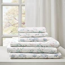 Madison Park Floral Cotton Comfort-Wash Sheet Set - Blue - King