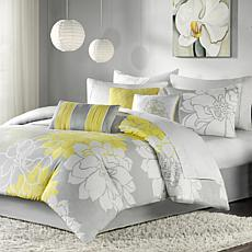 Madison Park Lola Comforter Set Twin - Gray/Yellow