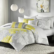 Madison Park Lola Gray/Yellow Duvet Set - King