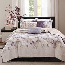 Madison Park Luna 6pc Taupe Quilted Coverlet Set - F/Q