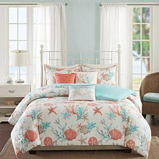 Madison Park Pebble Beach 6pc Coral Duvet Set - F/Q