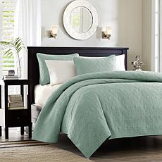 Madison Park Quebec Full/Queen Quilted Coverlet Mini Set - Seafoam