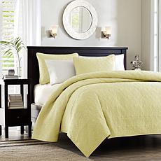 Madison Park Quebec King/Cal King Quilted Coverlet Mini Set - Yellow