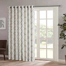 "Madison Park Saratoga Fretwork Patio Curtain-Ivory-100""x84"""