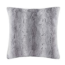"Madison Park Zuri Faux Fur Euro Pillow 25""x25"" - Grey"