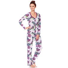 Maidenform Long-Sleeve Lace Trim Pajama Set