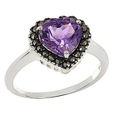 Marcasite and Amethyst Sterling Silver Heart-Shaped Ring