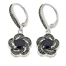 Marcasite and Black Onyx Sterling Silver Flower Drop Earrings