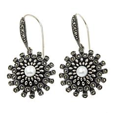 Marcasite and Cultured Freshwater Pearl Starburst Drop Earrings