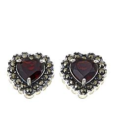 Marcasite and Garnet Sterling Silver Heart-Shaped Stud Earrings