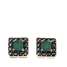 Marcasite and Green Agate Square Sterling Silver Stud Earrings