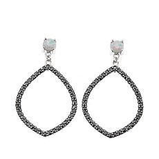 Marcasite and Lab-Created Opal Marquise-Shaped Drop Earrings