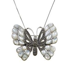 "Marcasite and Mother-of-Pearl Butterfly Pendant/Pin with 18"" Box Chain"