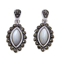 Marcasite and Mother-of-Pearl Marquise Drop Earrings