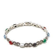 "Marcasite and Multicolored Agate 7"" Sterling  Bracelet"