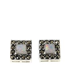 Marcasite and Synthetic Opal Doublet Square Stud Earrings