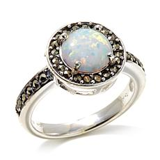 Marcasite and Synthetic Opal Round Sterling Silver Ring